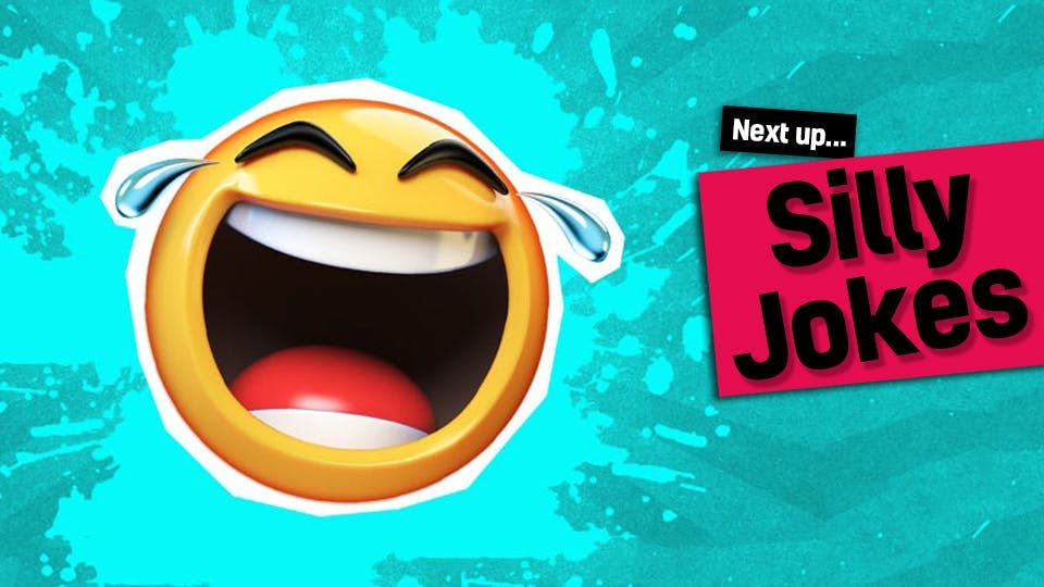 A laughing emoji face with the words: Next up Silly Jokes - click to visit our funny silly jokes from our funny smelly jokes