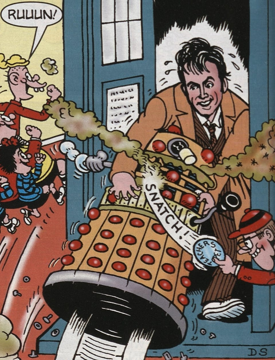 Beano Max Volume 1 March 2007 featured a strip with Doctor Who star David Tennant saving Bash Street from a Dalek invasion