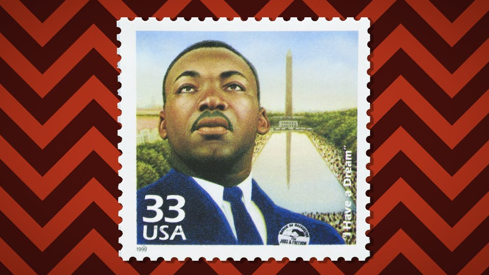 A stamp featuring Martin Luther King