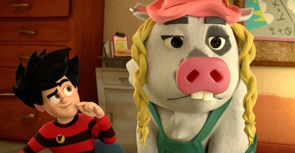 Dennis and Rasher get into mischief at school in the Dennis and Gnasher: Unleashed episode Pig Trouble in Little Beanotown