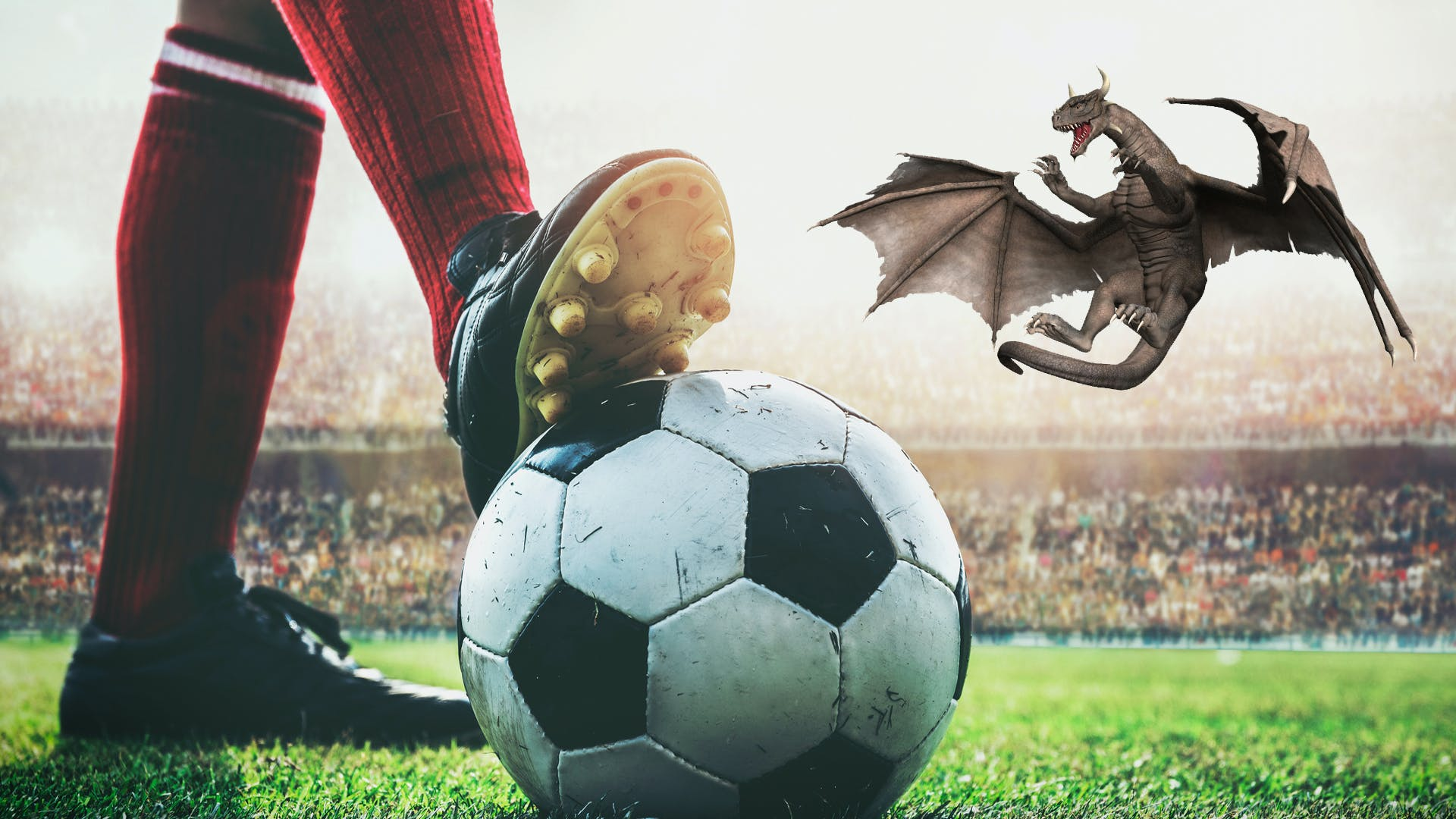 A dragon playing football