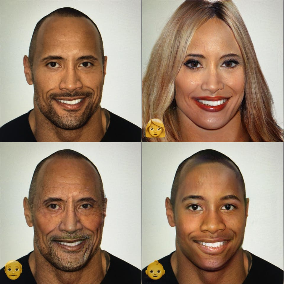 The Rock put through FaceApp