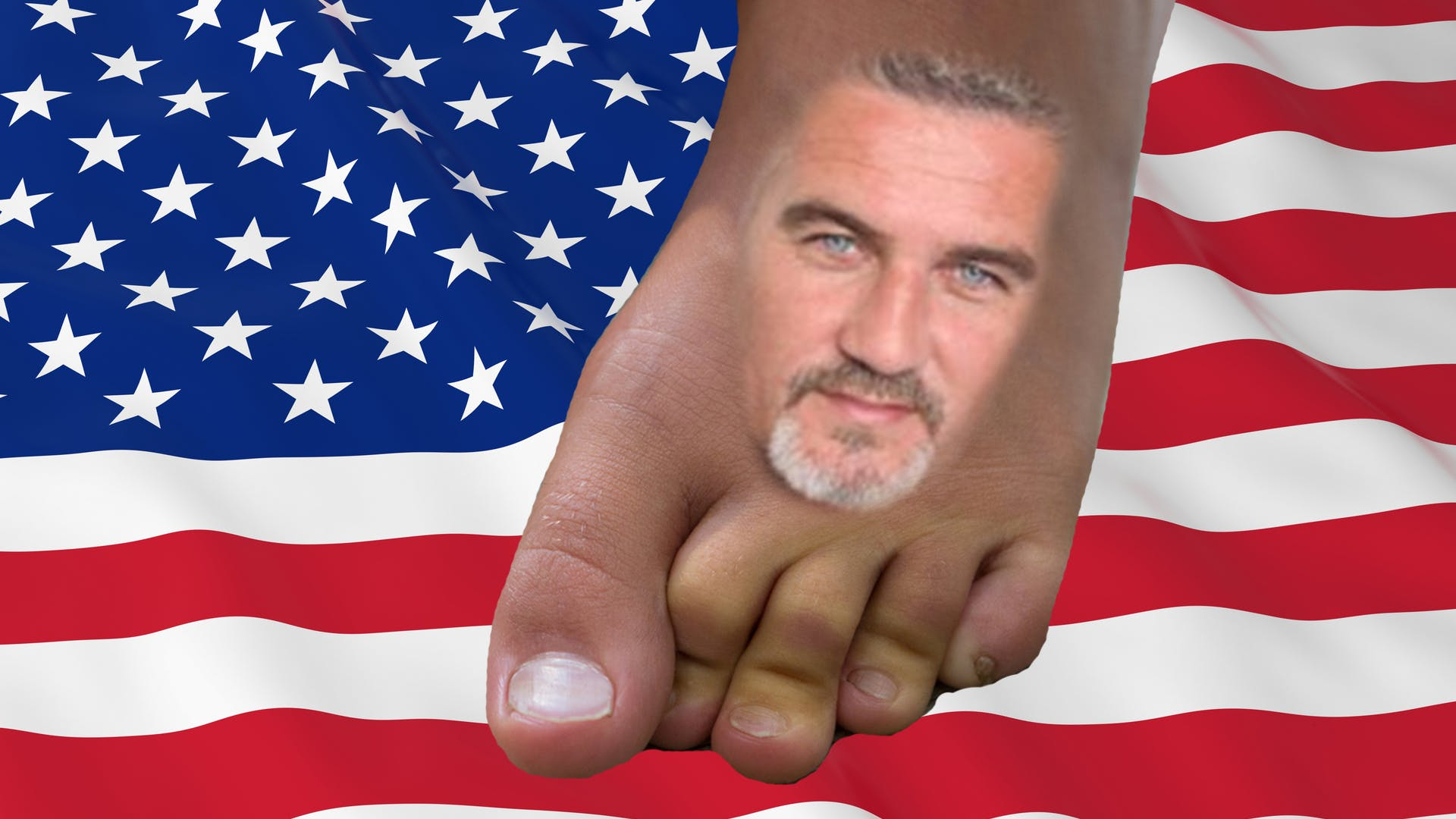 Paul Hollywood on a foot with an american flag in the background