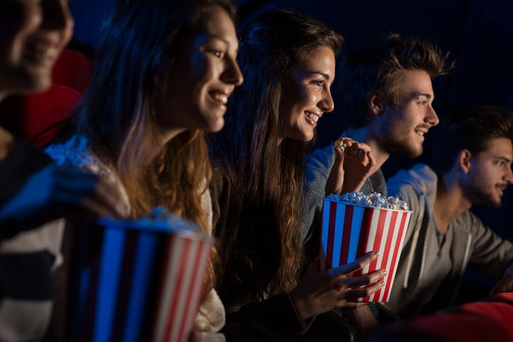 Group of friends in the cinema