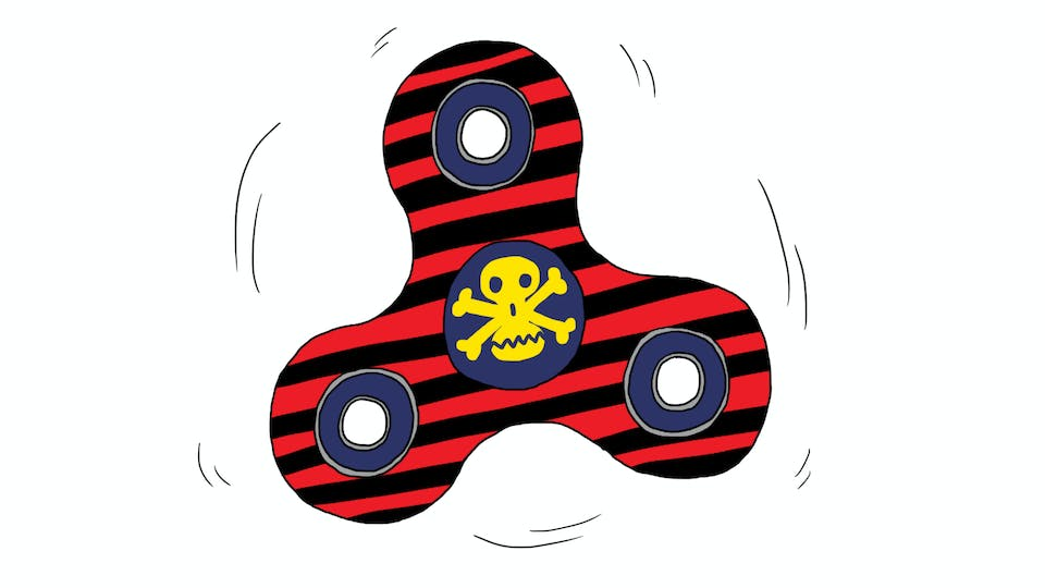 A black and red striped fidget spinner with the Bash Street Kids' Danny's skull logo in the centre