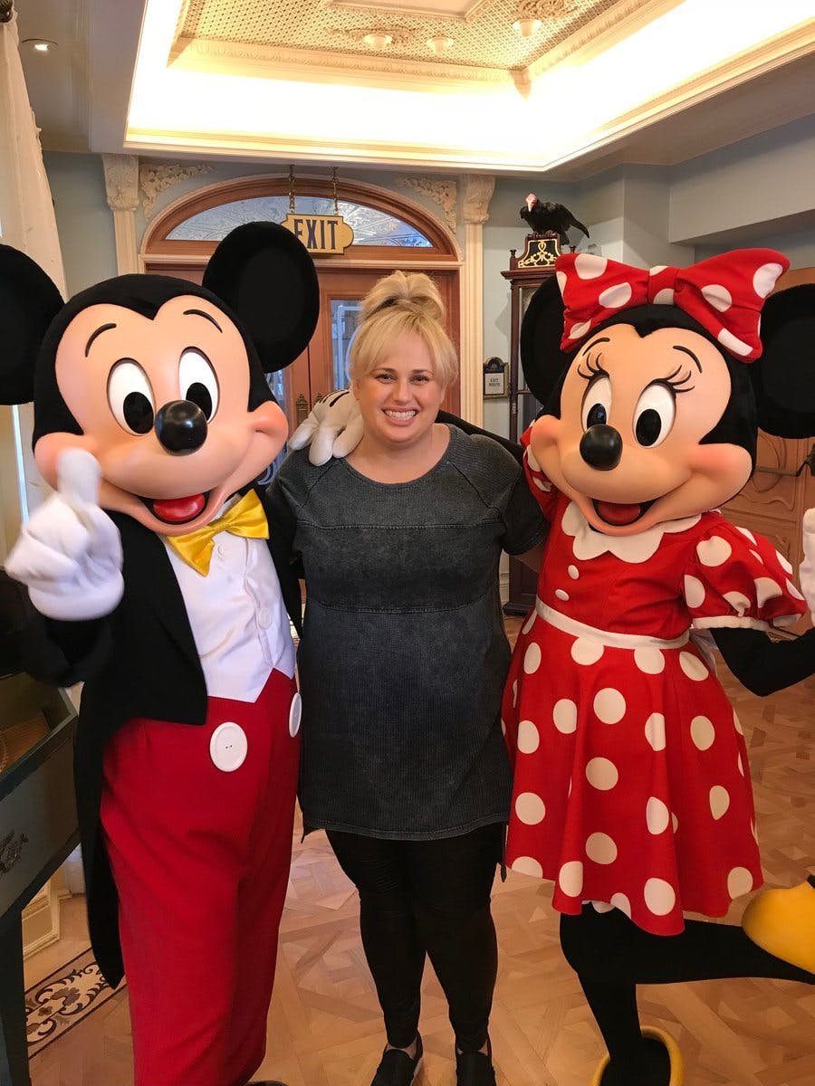 Rebel Wilson with Mickey Mouse and Minnie Mouse