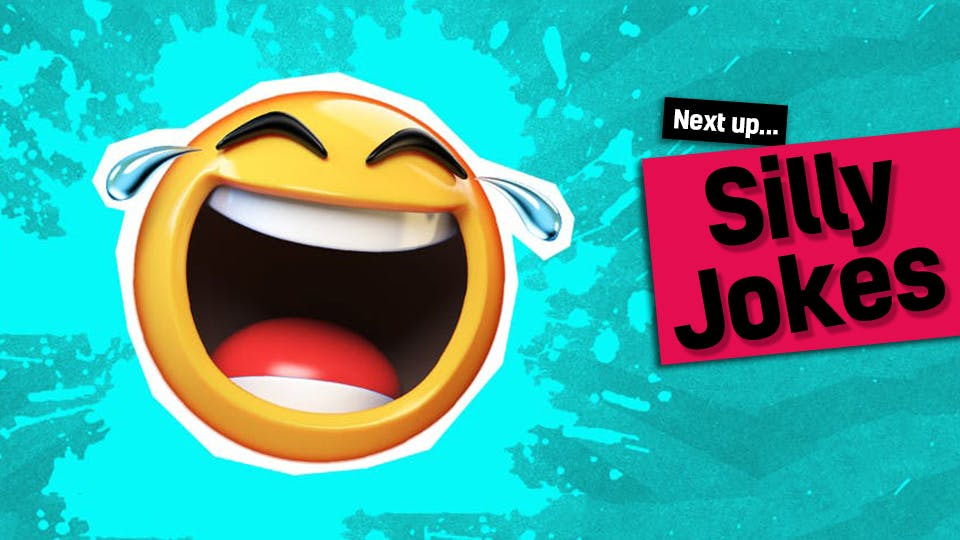 A wacky laughing emoji - click here to visit our silly jokes from our What do you call jokes