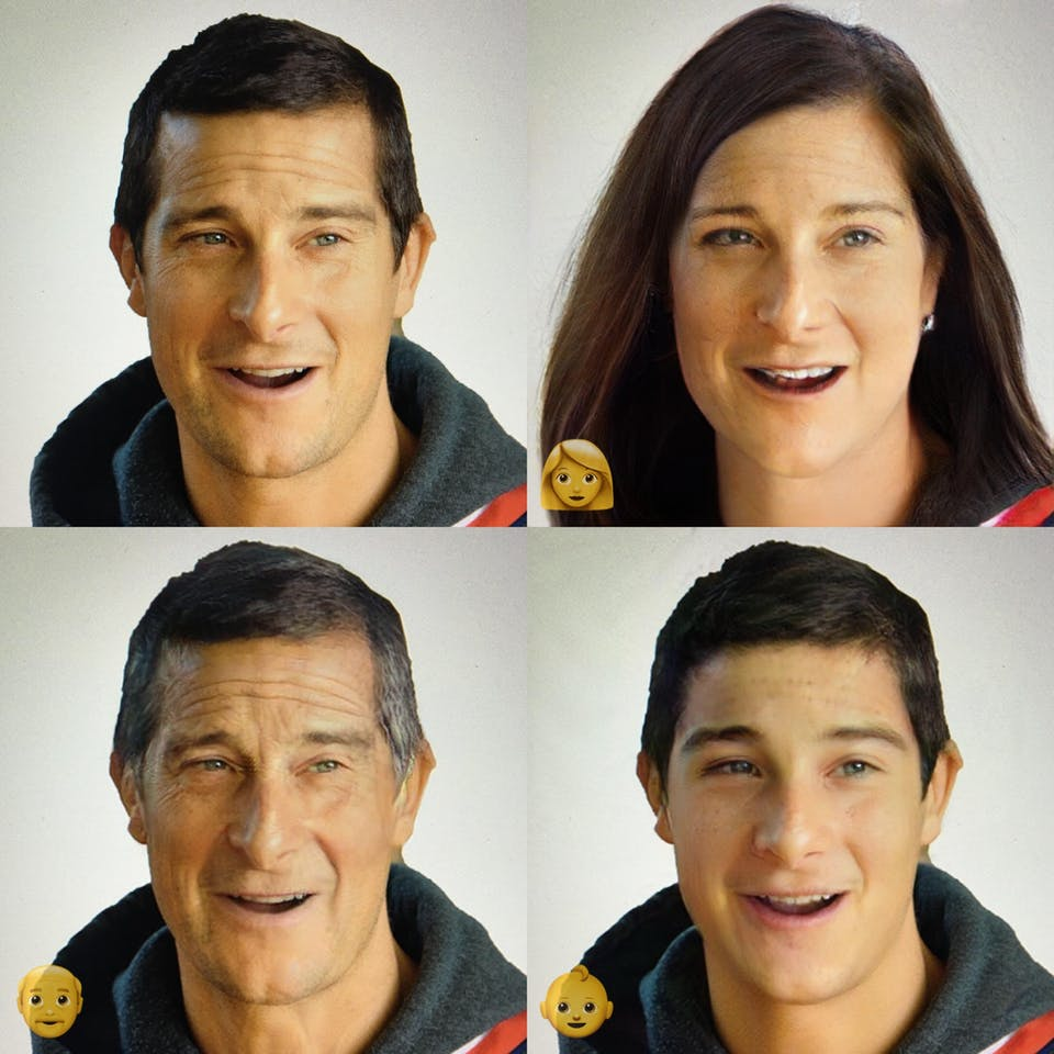 Bear Grylls put through FaceApp