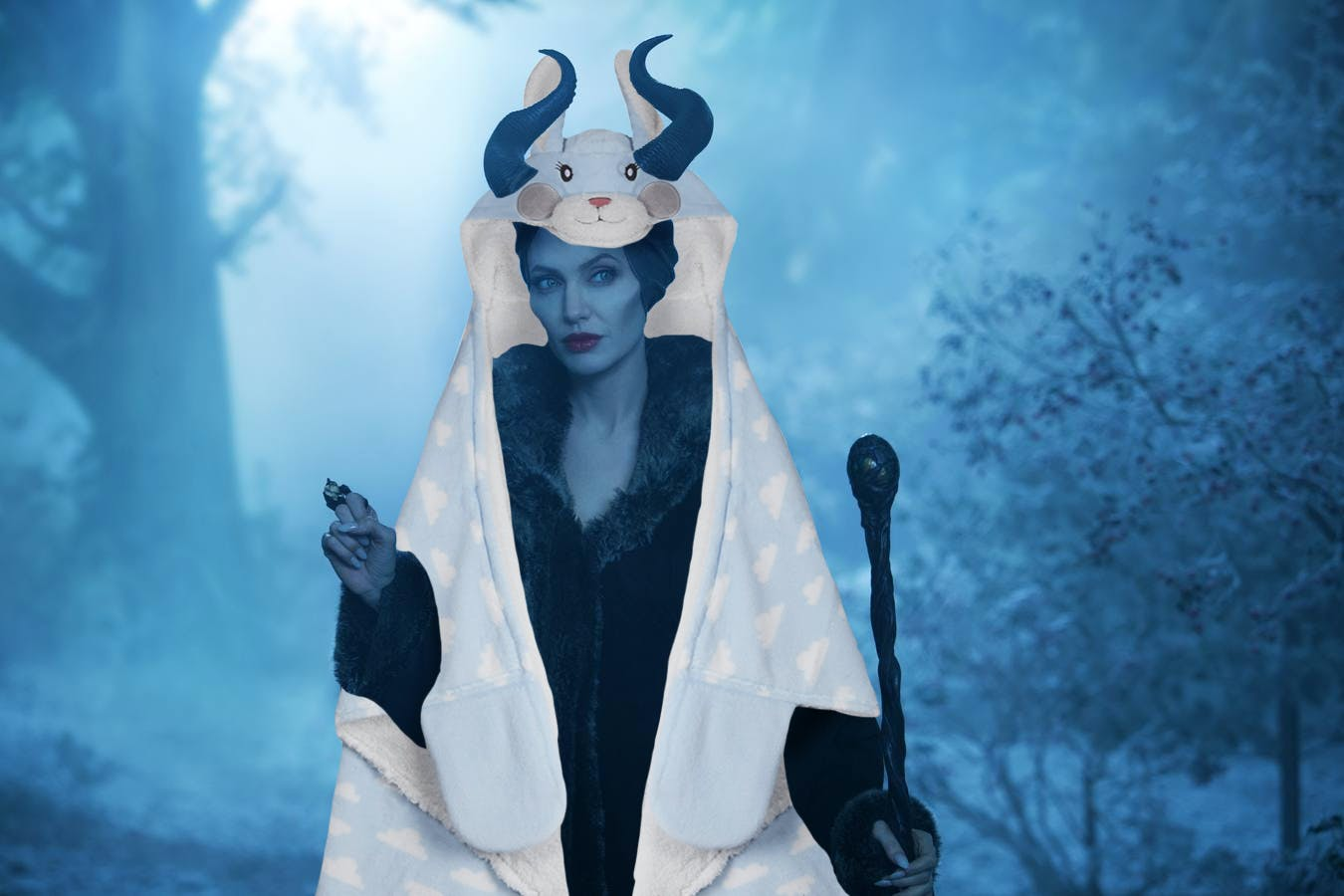 Maleficent wearing a rabbit slanket