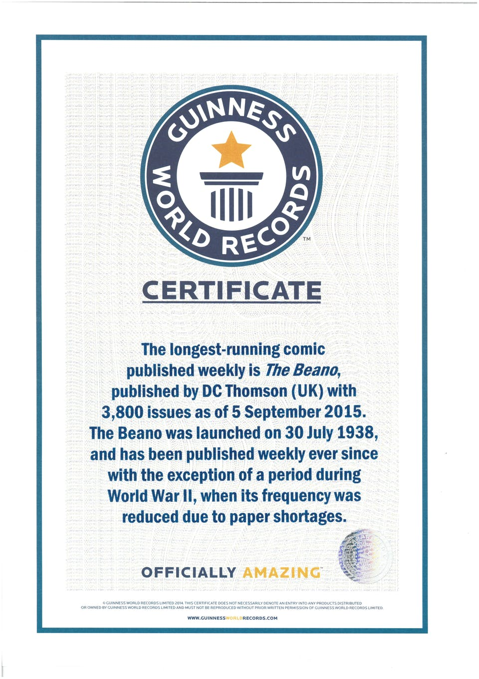 Beano World's Longest-Running Comic World Record Certificate