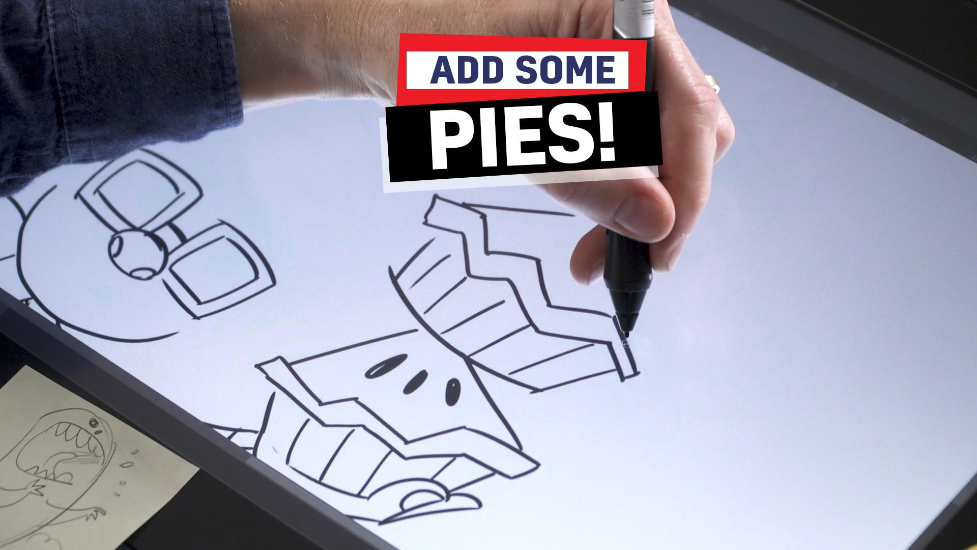 Ross drawing Pieface's pies