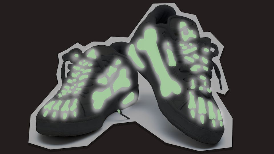 spooky glow in the dark skeleton shoes