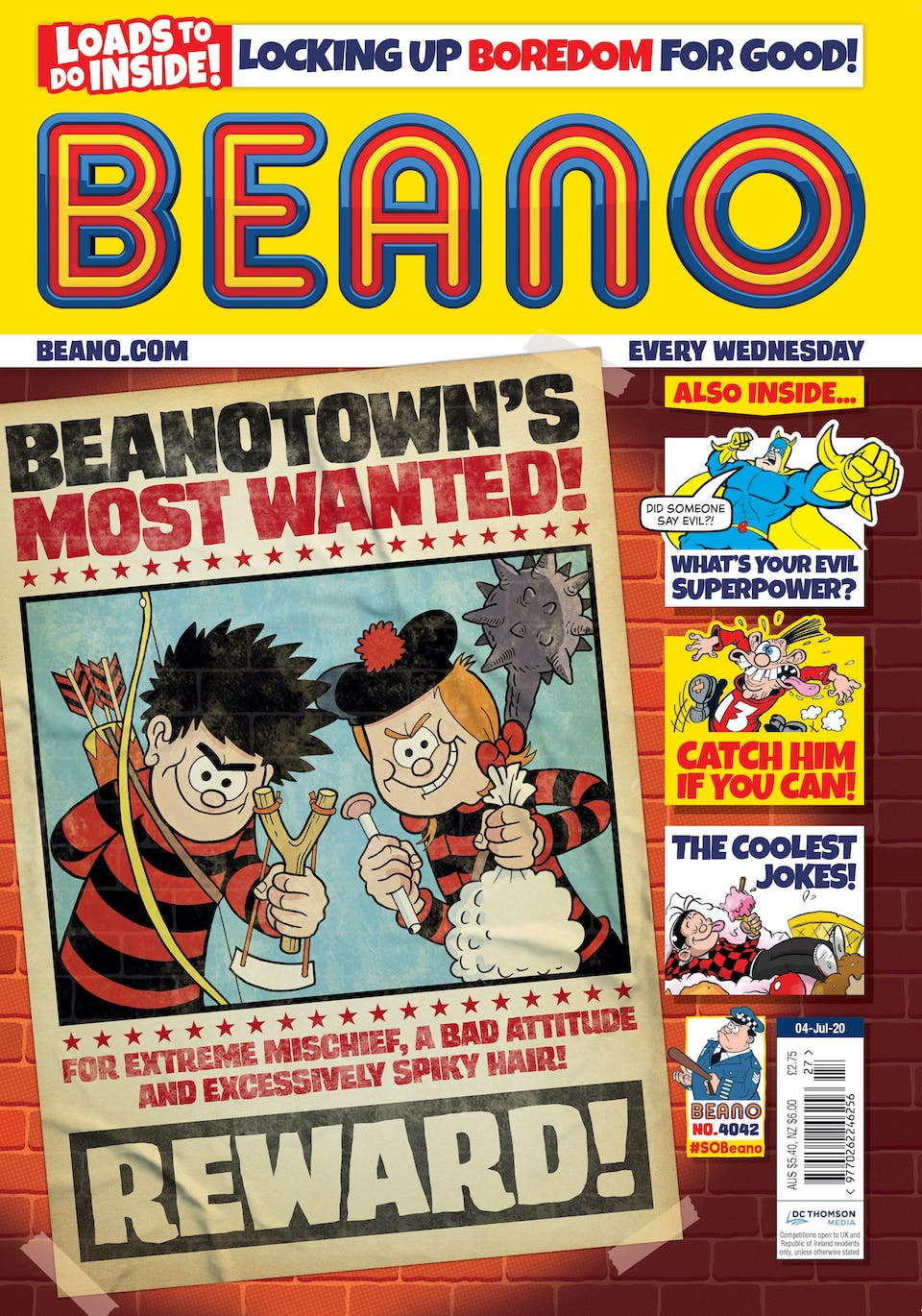 Inside Beano Issue 4042 - Minnie is always one of Beanotown's Most Wanted – or is she?