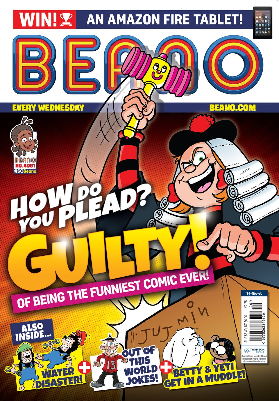 Inside Beano no. 4061 - Judge Minnie is Laying Down The Law!