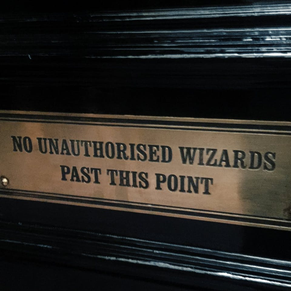 No unauthorised wizards past this point sign
