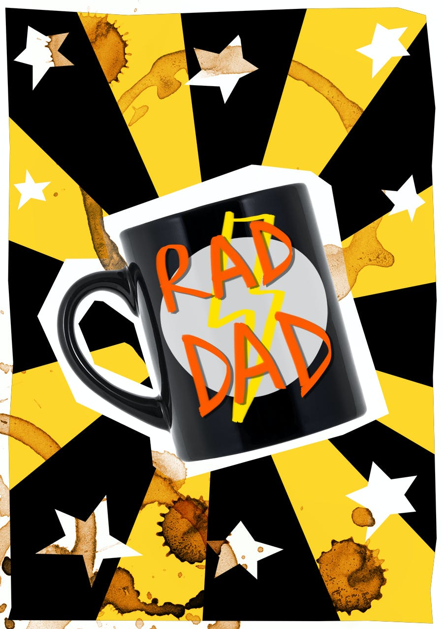 Father's Day card with a mug that says RAD DAD!