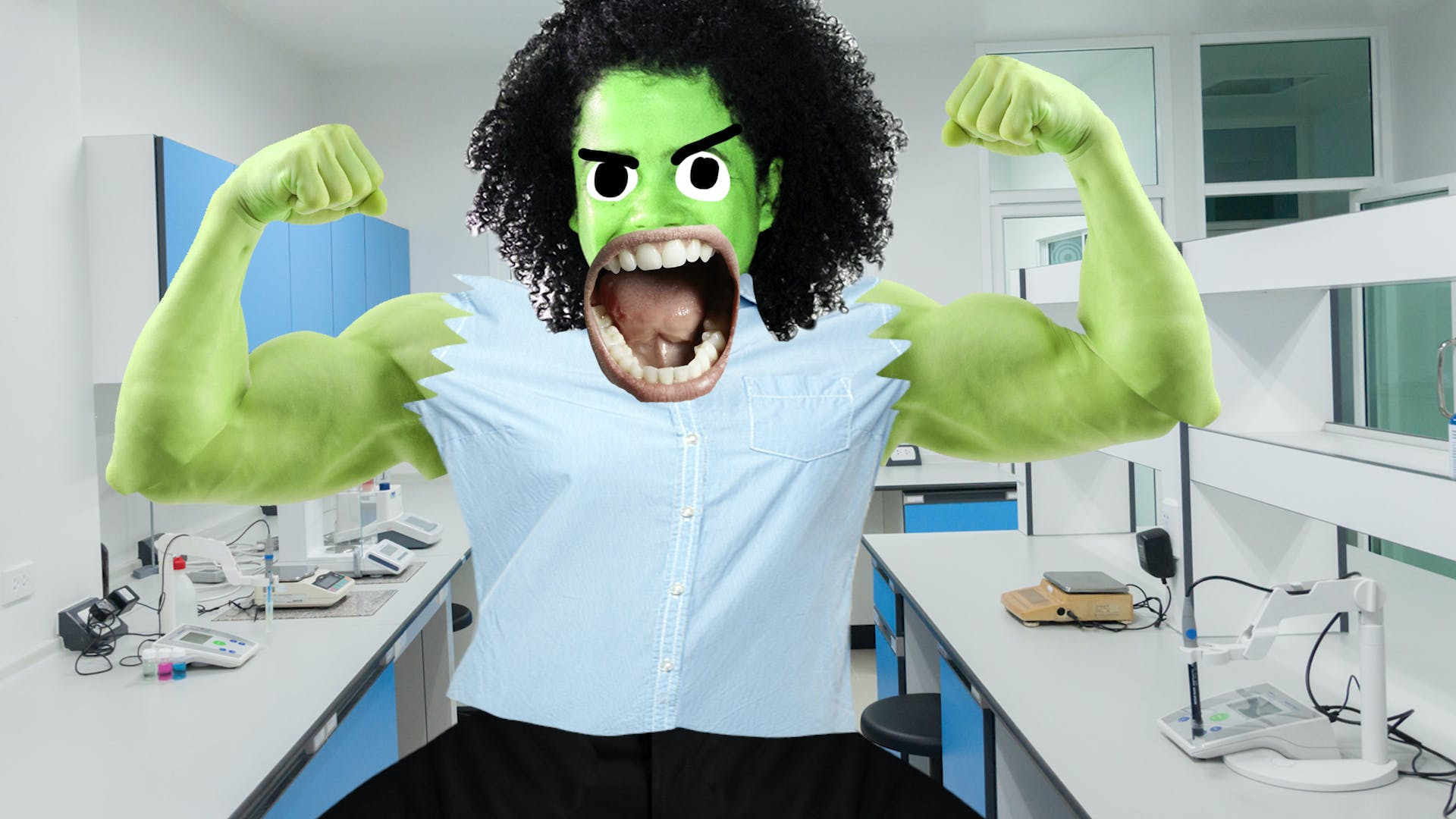 Science teacher is green and angry with muscles