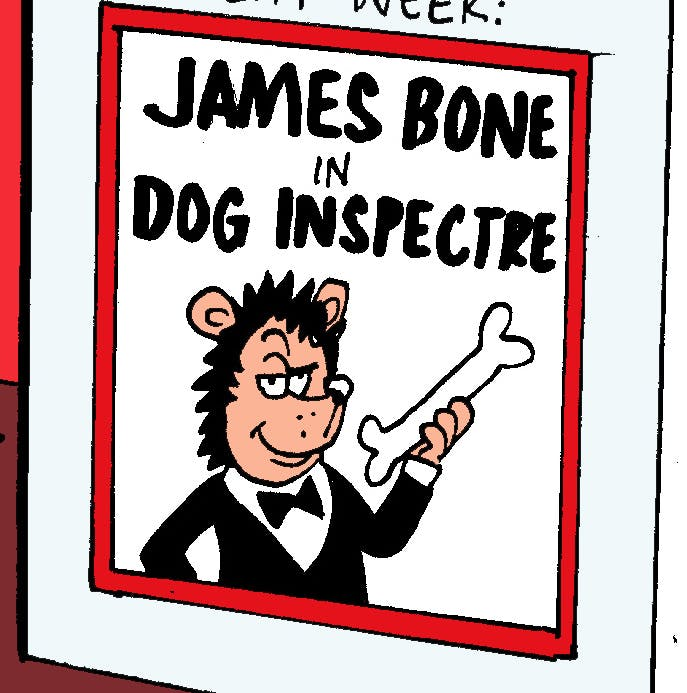 Gnasher the dog in James Bone - Dog Inspectre in Beano