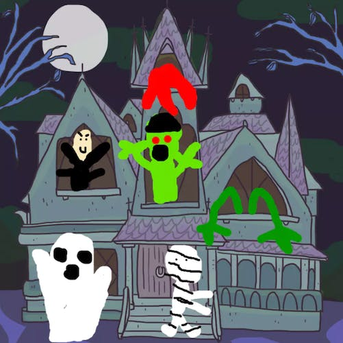 Spooky haunted house with a ghost, mummy, vampire, zombie, blood and some monster arms