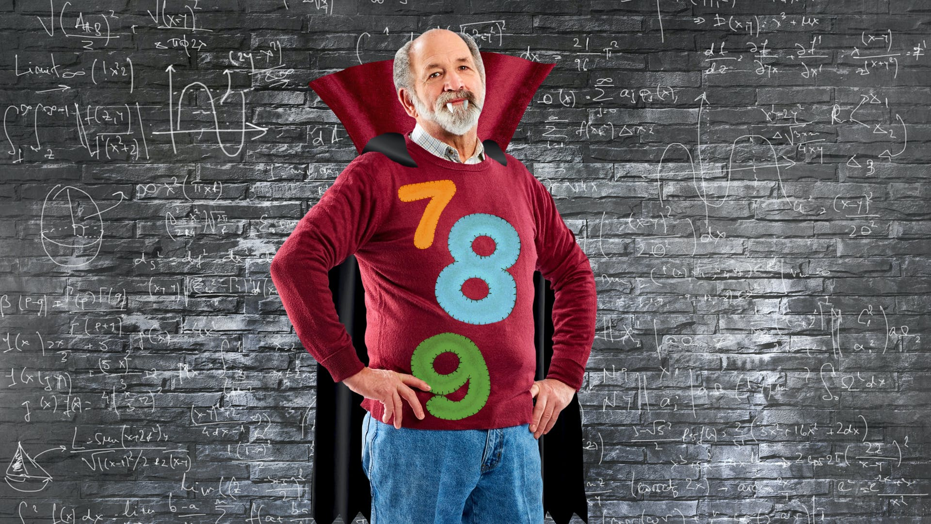 Maths teacher dressed as Dracula with numbers on his jumper