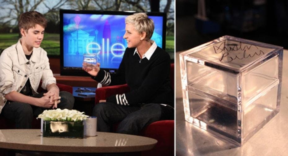 Justin Bieber auctioned his hair on Ellen's show