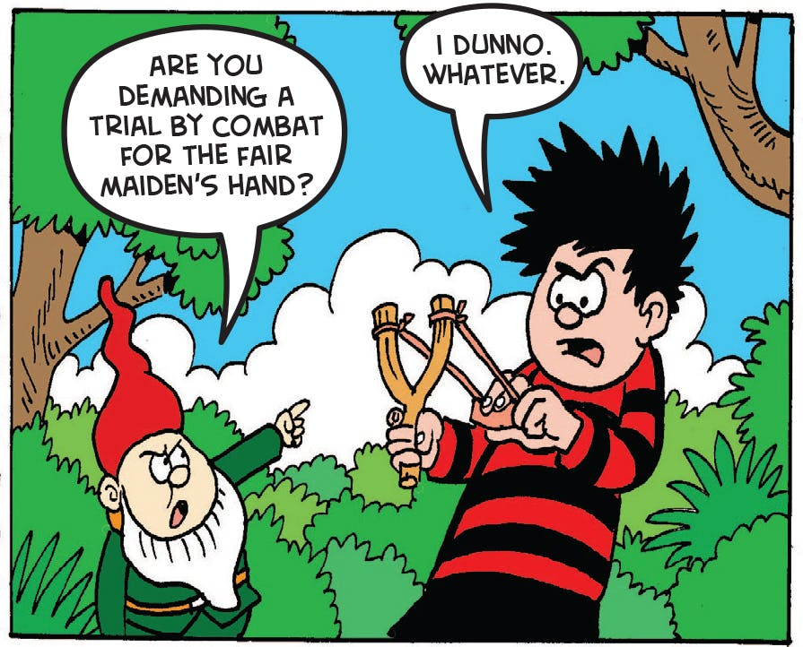 Dennis challenges the gnomes to a competition