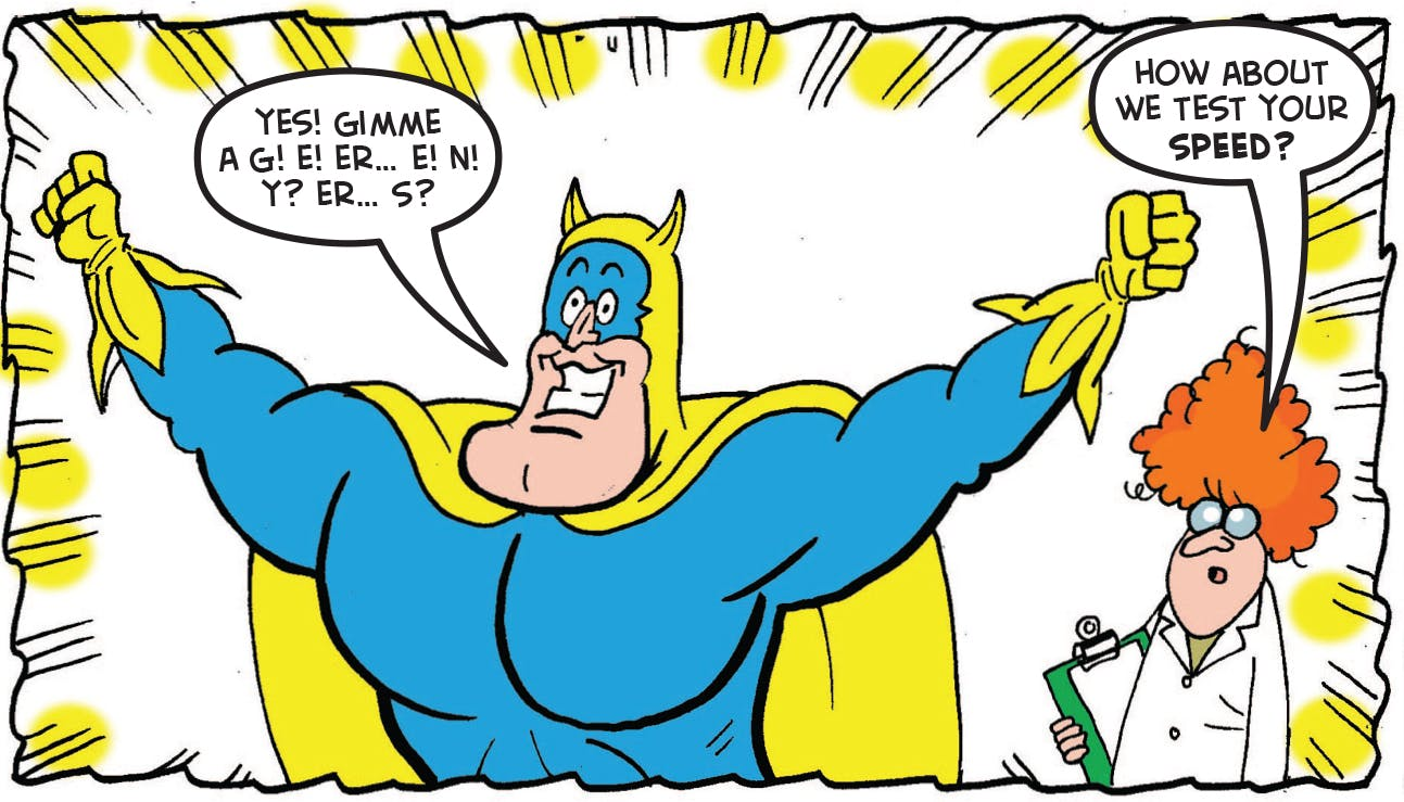 The scientist tests Bananaman