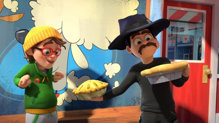 Pieface and Dennis get caught up in a gangster's plot in the Dennis and Gnasher: Unleashed episode The Wrong Man-ace