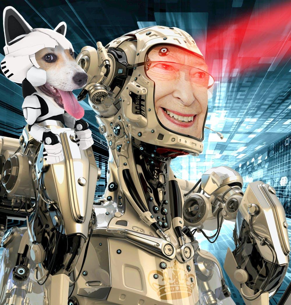The Queen as a robot with a robot corgi