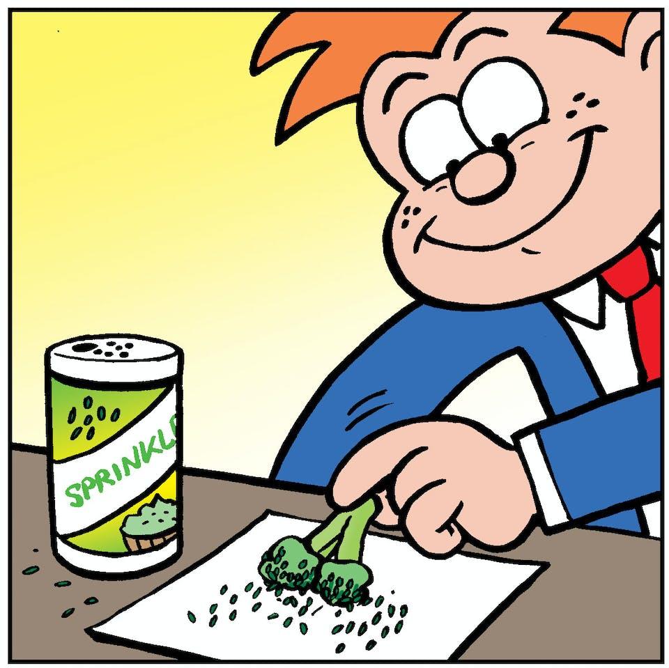 Tricky DIcky, prank, Beano, broccoli, sweet vegetable