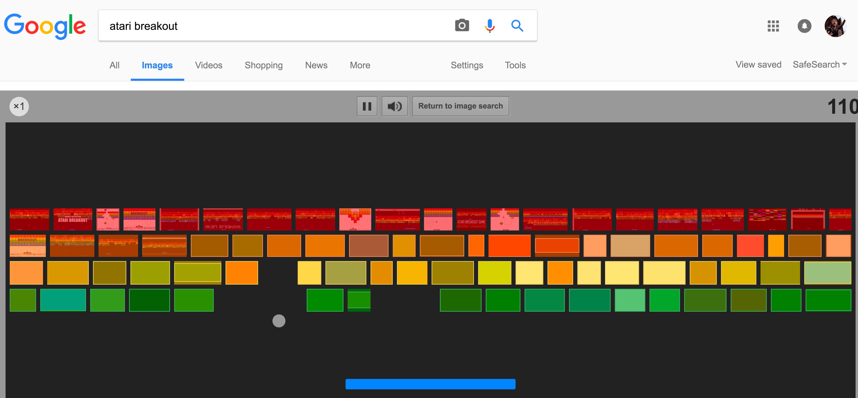 Atari Breakout hidden in Google
