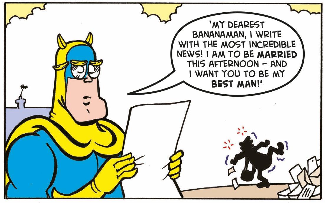 Bananaman reading, glasses
