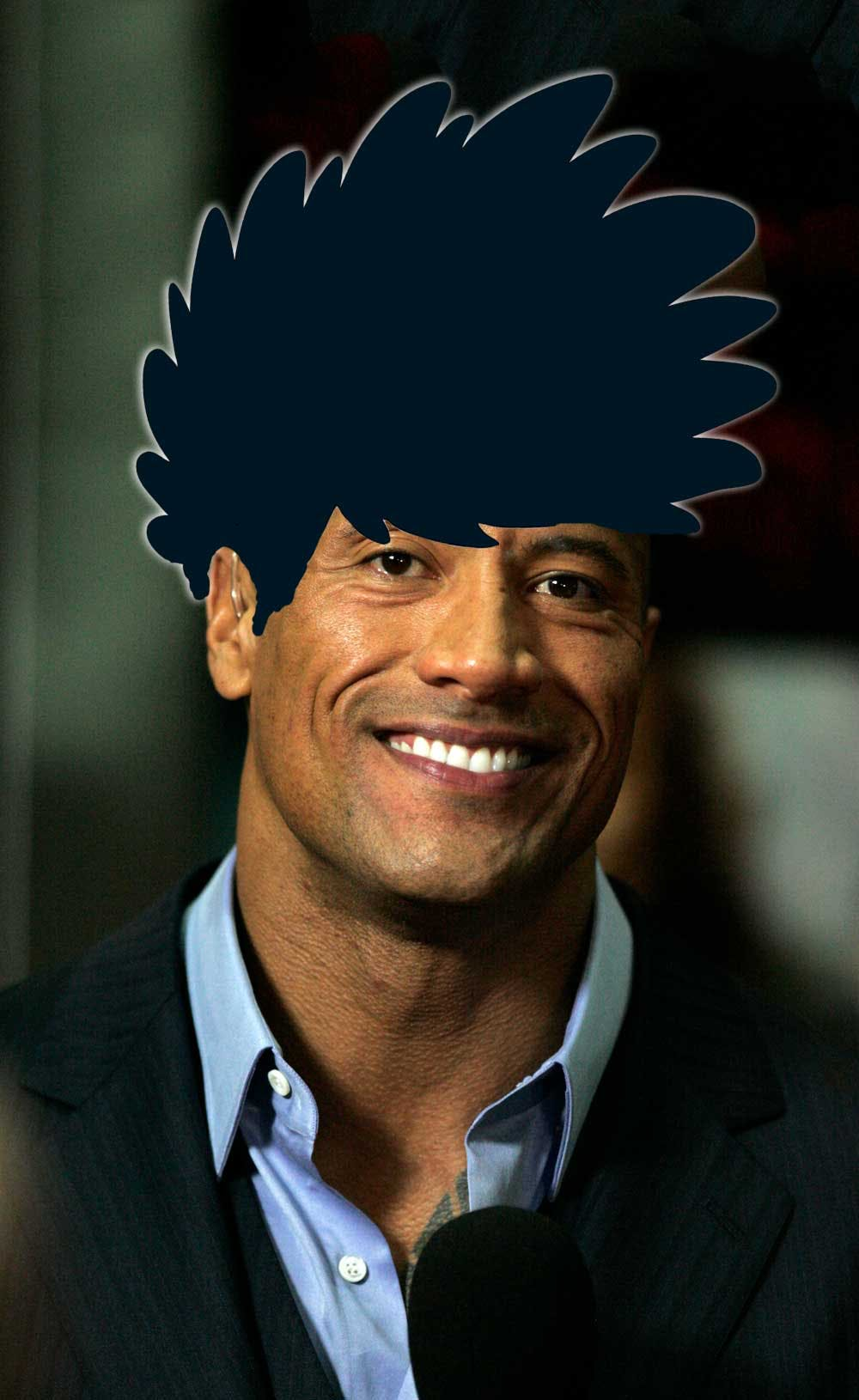 The Rock with Dennis the Menace's hair