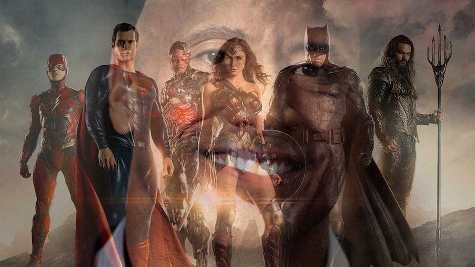 Justice League plus the Rock's giant face