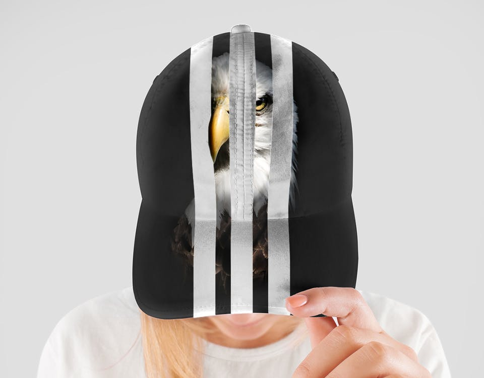 Eagle trapped behind the adidas stripes