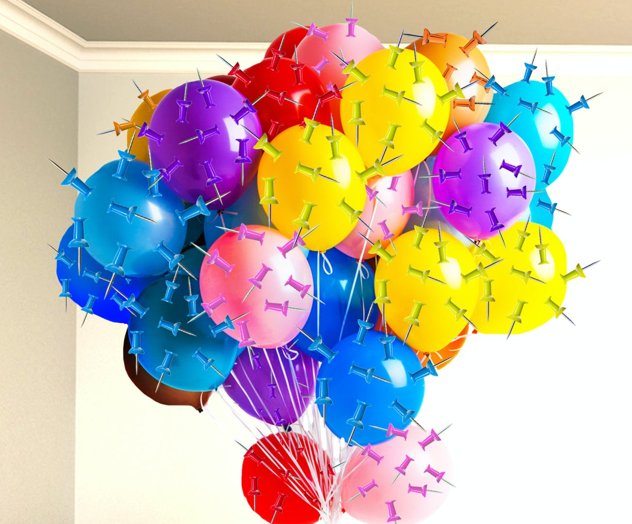 Balloons covered in pins