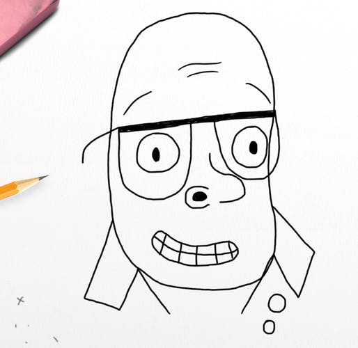 Outline of a drawing of Harry Hill - master of the stage!