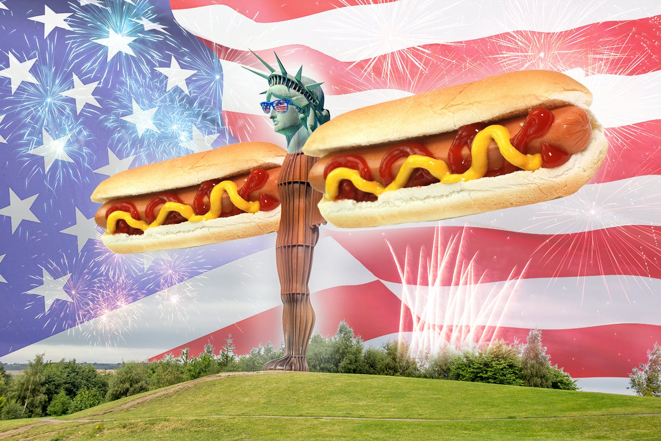 Angel of the north with hot dog arms and the statue of liberty's head wearing sunglasses with the american flag on them and a big american flag is in the background and there are fireworks