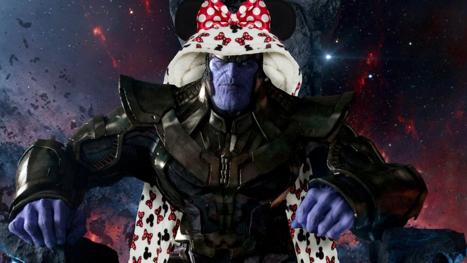 Thanos wearing a Minnie Mouse slanket