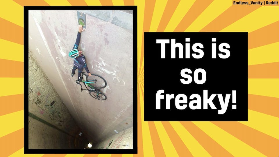 An amazing photo illusion featuring a man, a bike and a steep drop