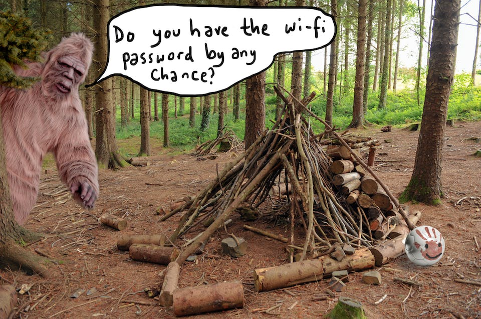 A woodland shelter with a bigfoot asking for the WiFi password