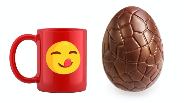 An Easter egg and a red mug