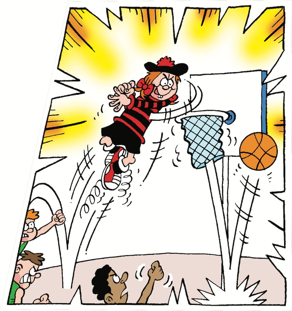 Minnie the Minx, spring, basketball, leap, jump, girl, funny, red and black stripes