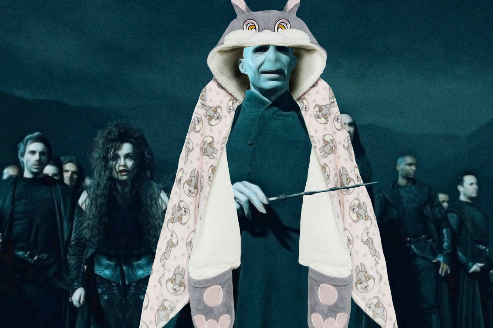 Voldemort wearing a Thumper slanket