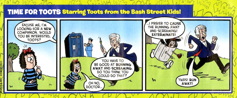 In the August 13, 2013 issue of Beano, Doctor Who star Peter Capaldi met Toots