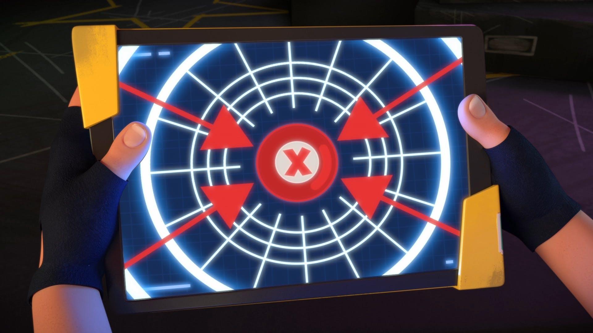 Rubi's tablet shows secret Star Wars style schematic