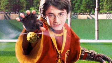 Harry Potter catches the Golden Snitch
