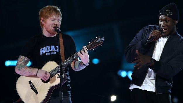Ed Sheeran and Stormzy at the Brits 2017