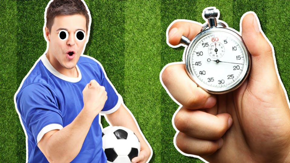 A celebrating football player and a stopwatch