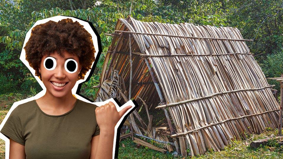 Woman gesturing to straw hut